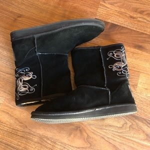 Juicy Couture Black Bling Winter Suede Boots 10